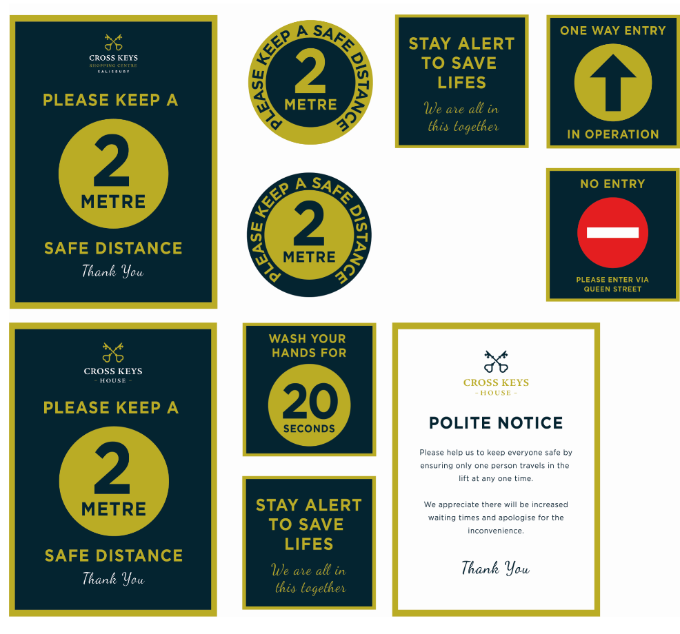 Distancing signage design for shopping centre and offices