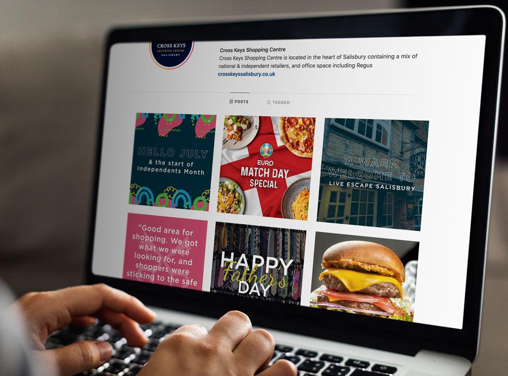 Social media content for shopping centre